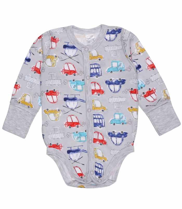 Боди для новорожденных Машинки серый