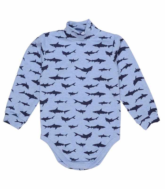 Детский боди-гольф утепленный Акулы голубой С