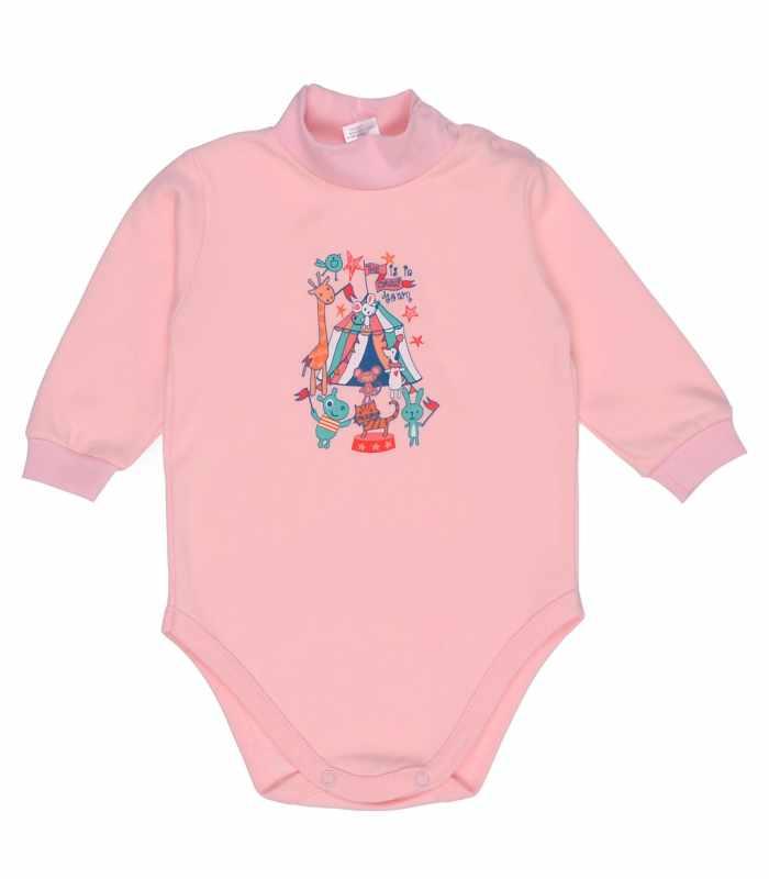 Детский боди-гольф утепленный Цирк розовый С