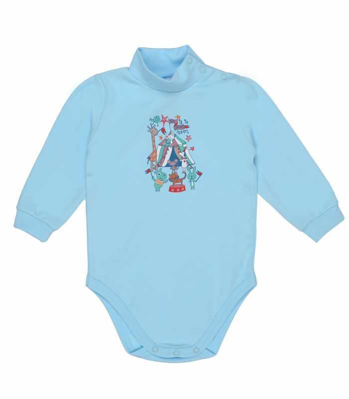 Детский боди-гольф утепленный Цирк голубой С