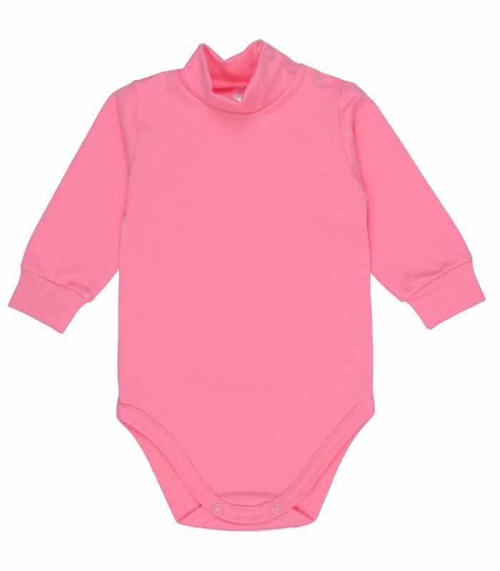 Детский боди-гольф утепленный 68-86 рост ярко-розовый