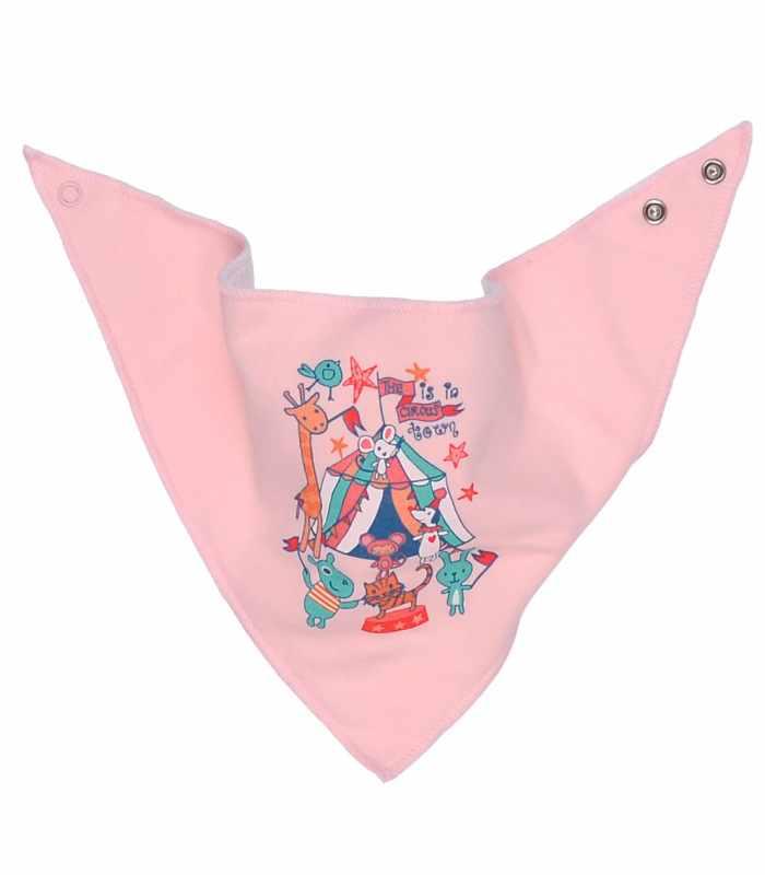 Слюнявчик на кнопках Цирк Розовый