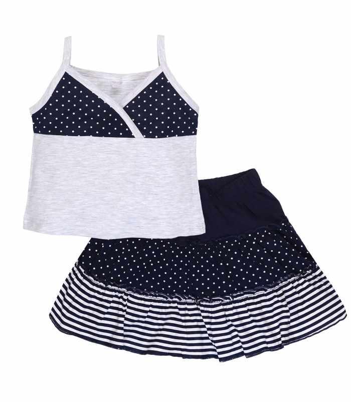Комплект для девочки майка+юбка меланж синий Б