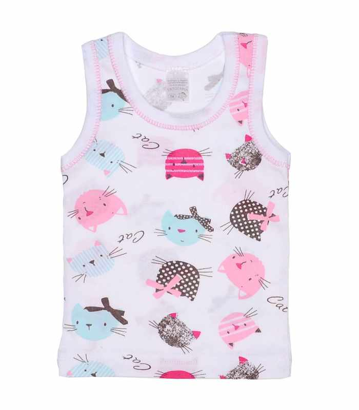 майка для девочек Кошки розовый мята