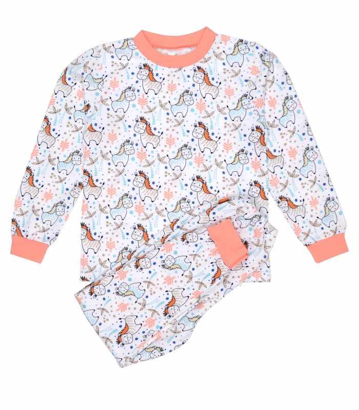 Детская пижама утепленная Ослики персик