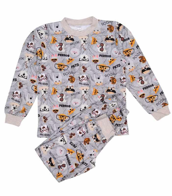 Детская пижама утепленная Собачки беж