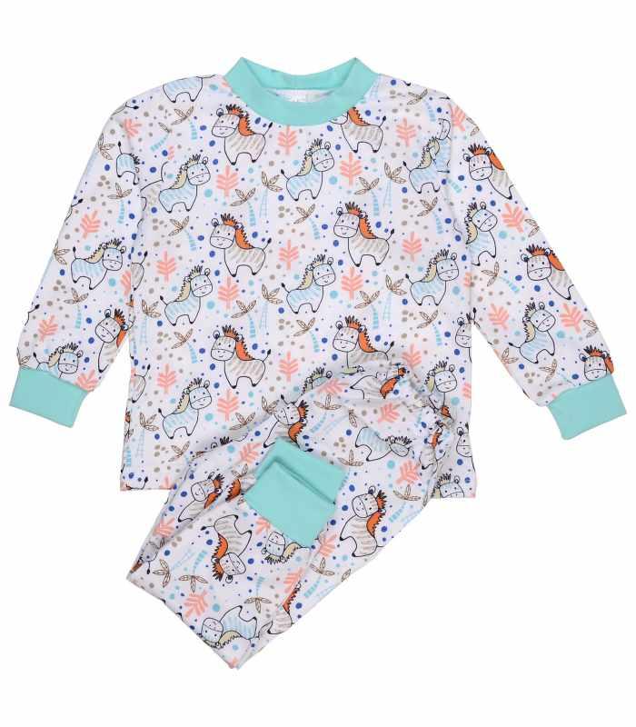 Детская пижама утепленная ослики мята