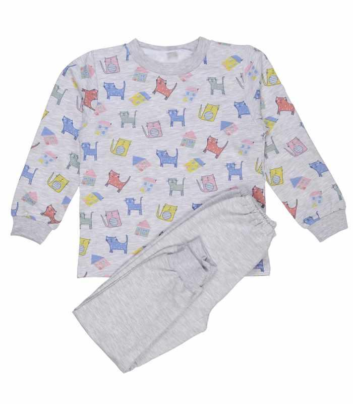 Детская пижама утепленная Котики домики