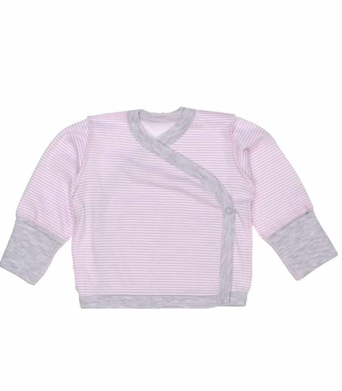 Распашонка Розовая с серой полоской