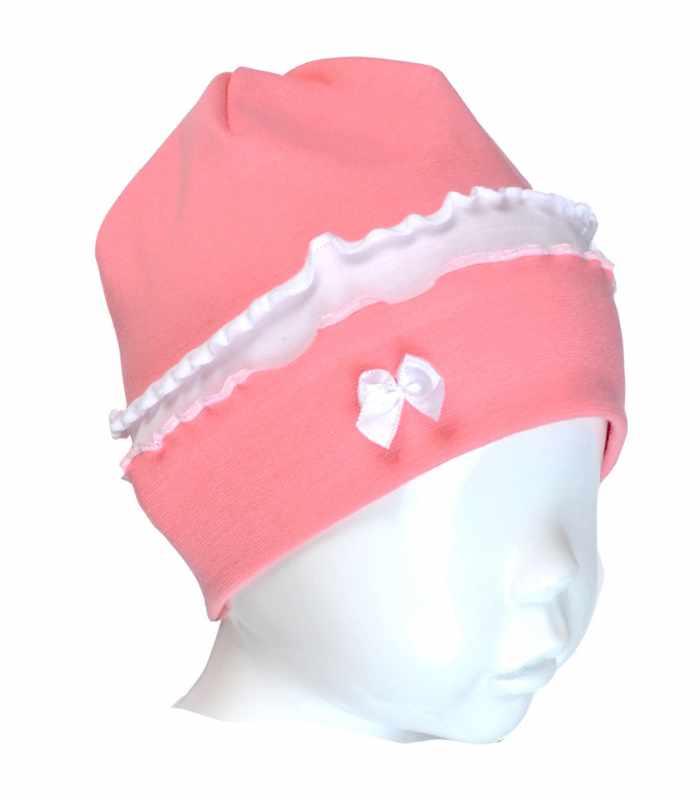 Детская шапочка интерлок с оборками персиковый С