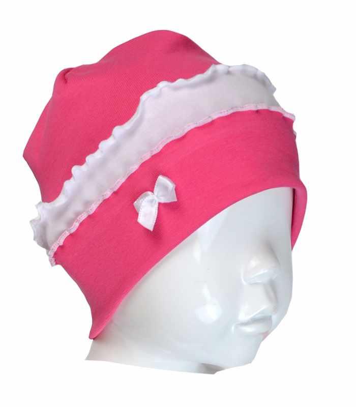 Детская шапочка интерлок с оборками малиновый С
