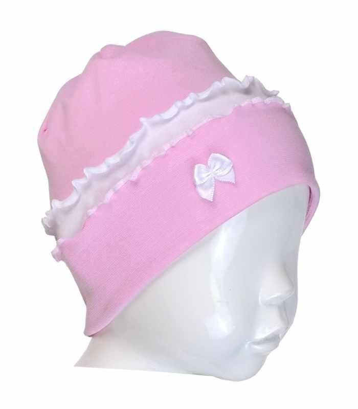 Детская шапочка интерлок с оборками розовый С